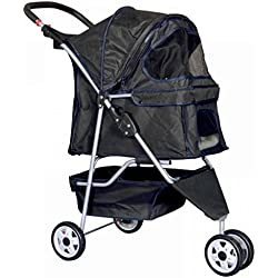 New Pet Stroller Cat Dog Cage 3 Wheels Durable mesh Ventilation Stroller Travel Folding Carrier Black #427