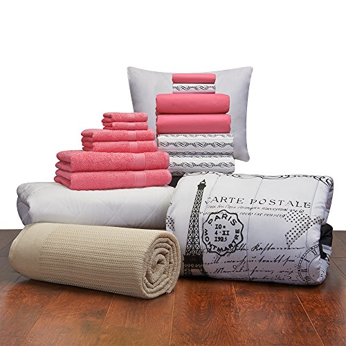 Campus Linens Girls 16 Piece Starter Pak Deep Pink Paris Twin XL College Dorm Bedding and Bath Set (Starter Pak)