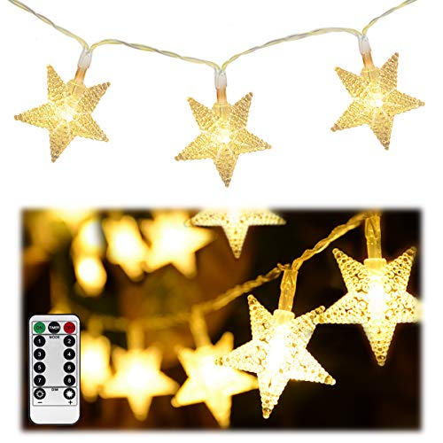 Homeleo 50 LED Warm White LED Twinkle Star Fairy Lights w/Remote Control, Battery Powered Five-Pointed Star String Lights