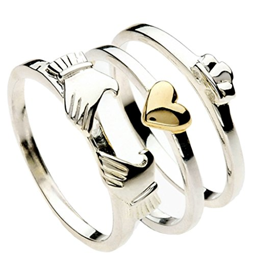 Silver and Gold 3 Piece Stacking Claddagh Ring Gift Boxed Size Q Gift...