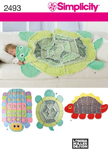 Simplicity Sewing Pattern 2493 Kids Rag Quilts Caterpillar, Turtle, Dinosaur by Longia Miller Designs, One (Rag Doll Craft)