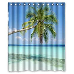 Stylish Lovely Sandy Tropical Paradise Beach with Palm Trees and the Sea Ocean Pattern Bathroom Shower Curtain