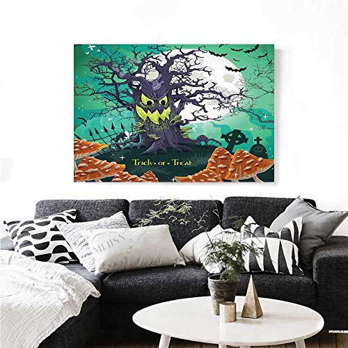 (Halloween Canvas Print Wall Art Trick or Treat Dead Forest with Spooky Tree Graves Big Kids Cartoon Art Print Art Stickers 24