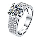 1CT Genuine Brand Quality Sterling Silver Engagement Ring NSCD Simulated Diamond Ring for Women