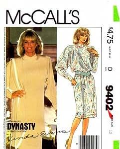 McCall's 9402 Dynasty Linda Evans Nolan Miller Misses Dress Tunic Skirt Shawl Size 12 - Bust 34