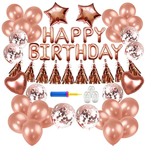 Birthday Decorations,Conthfut Birthday Party Supplies Happy Birthday Balloons Banner Rose Gold Birthday Decorations for Boys Girls Birthday Party Include Confetti Ballons]()