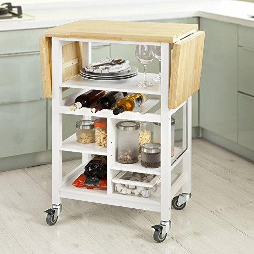 sobuy fkw44 wn desserte sur roulettes chariot de cuisine meuble de rangement plans de travail. Black Bedroom Furniture Sets. Home Design Ideas