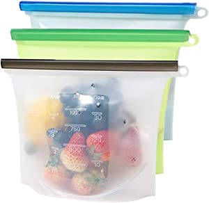 Metopets Reusable Silicone Food Bags - Food Grade Freezer Storage bags Containers - Airtight Seal & Leak Proof (1 Liter, Pack of 3)