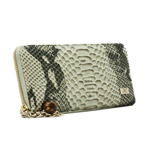JackyandCeline J26-005-022 Ladies' Grey Snake Large Multifunction Zip Around Wallet, Bags Central