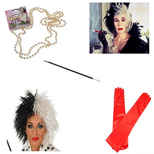 Cruella Deville Coat Costumes (NeonCandyUK Big Girls' Cruella De Ville Costume Fancy Wig Cigarette Holder Gloves One Size Red)