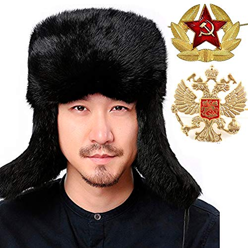 Valpeak Mens Winter Hat Real Rabbit Fur Russian Ushanka Hats (Black, XL)