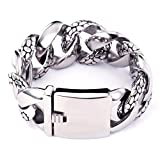Men's Stainless Steel Figaro Link Wrist Bracelet, Silver, 9.1 ihches Long 1.2 inches Wide TB34