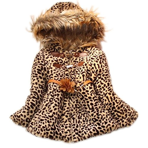 Baby Girls Faux Fur Leopard Hoodies Coat Kids Winter Warm Jacket Snowsuit (5-6T, Leopard) -