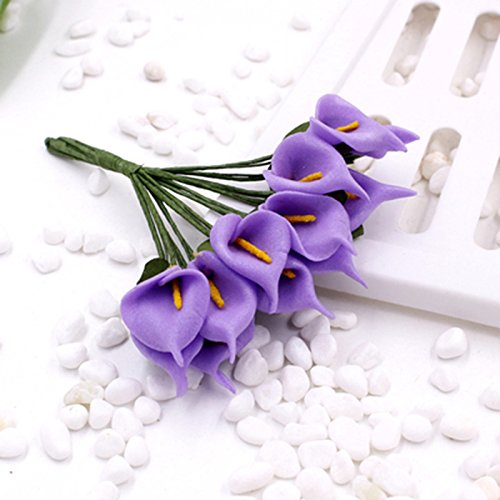 Muhan 144PCS Mini Artificial Calla Lily Bouquets for Bridal Wedding Home Decoration Gift Box Wrap