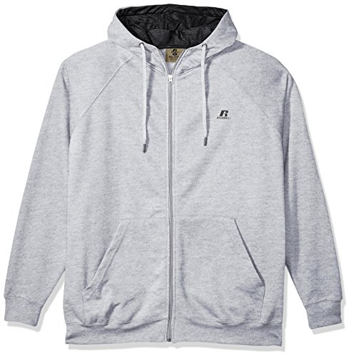 Russell Athletic Men's Big and Tall FZ/FLCE Hood W/Mesh Lining Contrast Drawsrtringlc r, Heather Grey, (Big Tall Activewear)