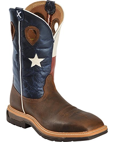 Twisted X Mens Lite Texas Flag Stivale Da Lavoro A Punta Quadrata - Mlcw007 Marrone