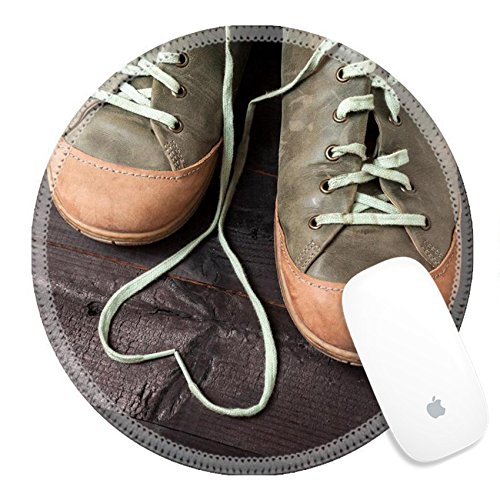 Luxlady Natural Rubber Round Gaming Mousepads Heart made of shoelaces Leather green sneakers on black boards IMAGE ID 27746220