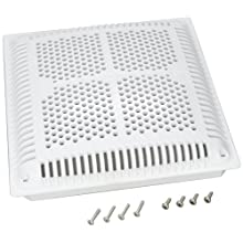 Hayward WGX1032BHF2 12-Inch White High Flow Square Drain Cover with Inner Frame