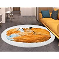 Animal Round Area Rug Cute Fox Sleeping Funny Creature Kids Nursery in Watercolor Artwork Design Living Dinning Room & Bedroom Rugs Apricot and White