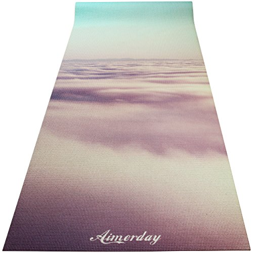 "Aimerday Premium Printed 1/4"" Extra Thick Yoga Mat High Density 72X24 Inch Non Slip Eco friendly Anti Tear Floor Pilates Exercise Mat for Yoga, Workout, Fitness with Carrying Strap & Bag 6mm"