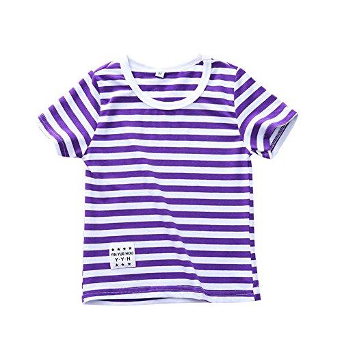 Unisex Toddler Boy Girl T Shirt Kid Baby Cotton Striped Shirt Purple 120