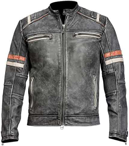 ed623026b8 Biker Cafe Racer Retro 2 Distressed Grey Motorcycle Black Real Leather  Jacket for Men s