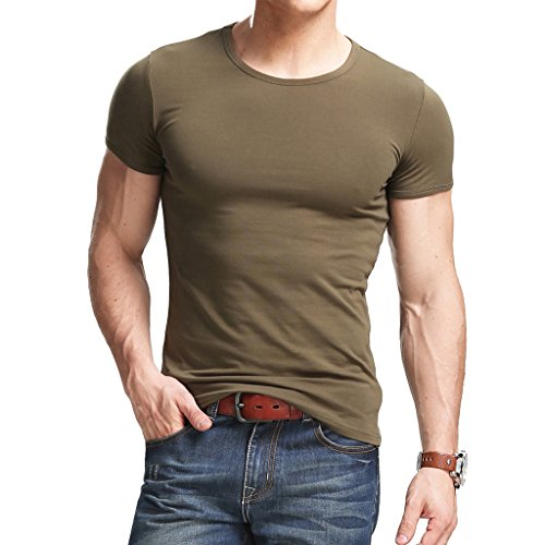 XShing Cotton Men's T-Shirt Comfort-Soft Fitness Crew-Neck T-Shirts (L, (Easy Fitted T-shirt)