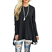 ANMAGO Lace Hem Long Sleeve Women's Casual Tunic Blouse (Multi Colors)
