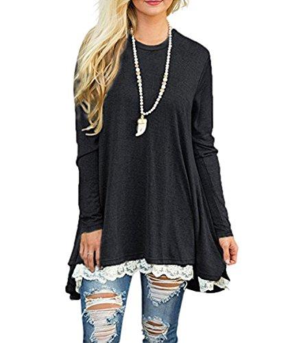 FOMANSH Women Casual Lace Long Sleeve Tunic Top T-Shirt Blouse (Medium/US 8-10, Black)