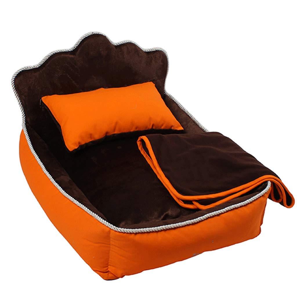 orange 53x36x33cm orange 53x36x33cm Pet Bed Cat nest Detachable Clean Thick Warm pet House Breathable is not Easy to Play Small Ball Living Room Bedroom Universal Kennel A+ (color   orange, Size   53x36x33cm)