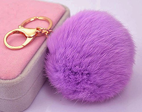 Miraclekoo Rabbit Fur Ball Pom Pom KeyChain Gold Plated Keychain with Plush for Car Key Ring or Handbag Bag Decoration (Purple)