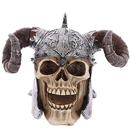 PUCKATOR SK236 Cráneo portátil de decoración con Casco y Cuernos de Vikingo, de Resina,