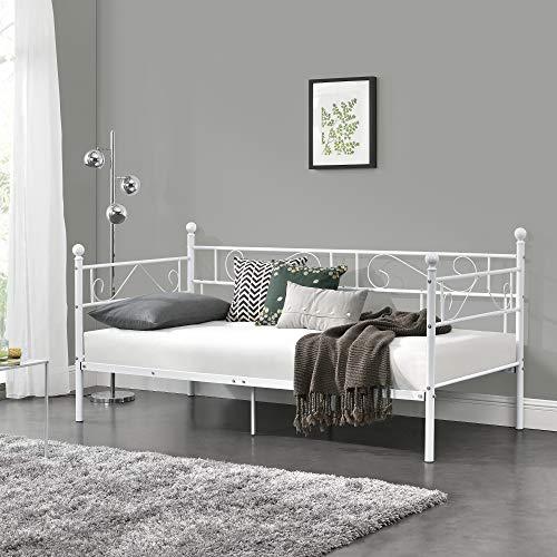 [en casa] Cama con esctructura de Metal para Una Persona Armazon de diseno 200 x 100cm Sofa Divan Blanco