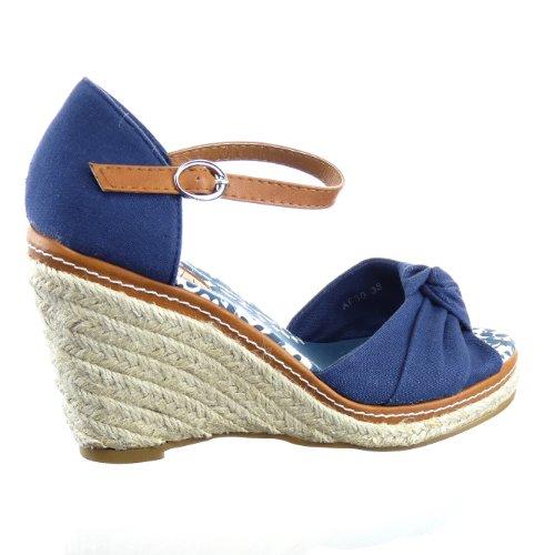 Kickly-Sandale modo zapatillas, diseño de zapato de tacón de plataforma tobillo mujeres cuerda compensado plataforma 10 CM, color azul y marrón
