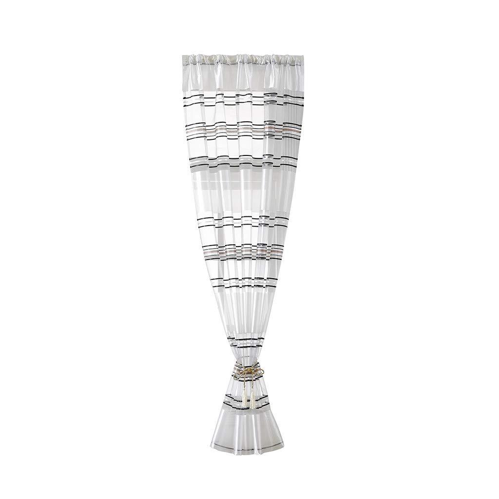 Gaddrt Accessori Per Tende e Tendine Cortina Corta In Seta Argentata a Righe Foglie In Tulle Velato Trattamento Per Finestre In Tulle coffee