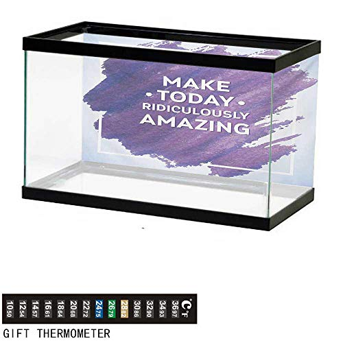 "wwwhsl Aquarium Background,Quote,Make Today Ridiculously Amazing Message on Watercolor Brush Strokes,Baby Blue Plum and White Fish Tank Backdrop 60"" L X 24"" H"