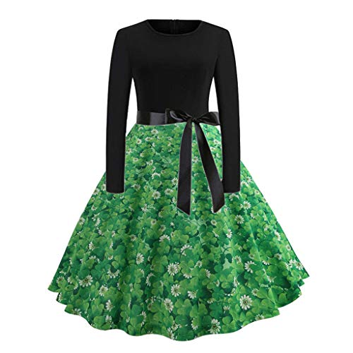 GREFER Women Long Sleeve Dress Vintage Pumpkins Evening Prom Costume Swing Dress Halloween Christmas St. Patrick's Day (L, L-Green-2)]()