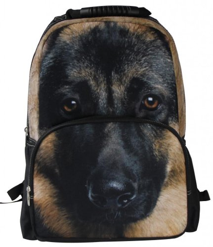 Animal FaceTM 3D Animals German Shepherd Backpack 3D Deep Stereographic Felt Fabric
