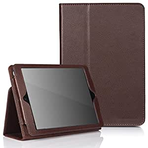 iPad 6 Leather,Ezydigital Carryberry Fashion Cute Synthetic Leather Flip Holder Support Case Wite Soft TPU Cover Skin For Apple iPad Air 2 *£¨Brown)