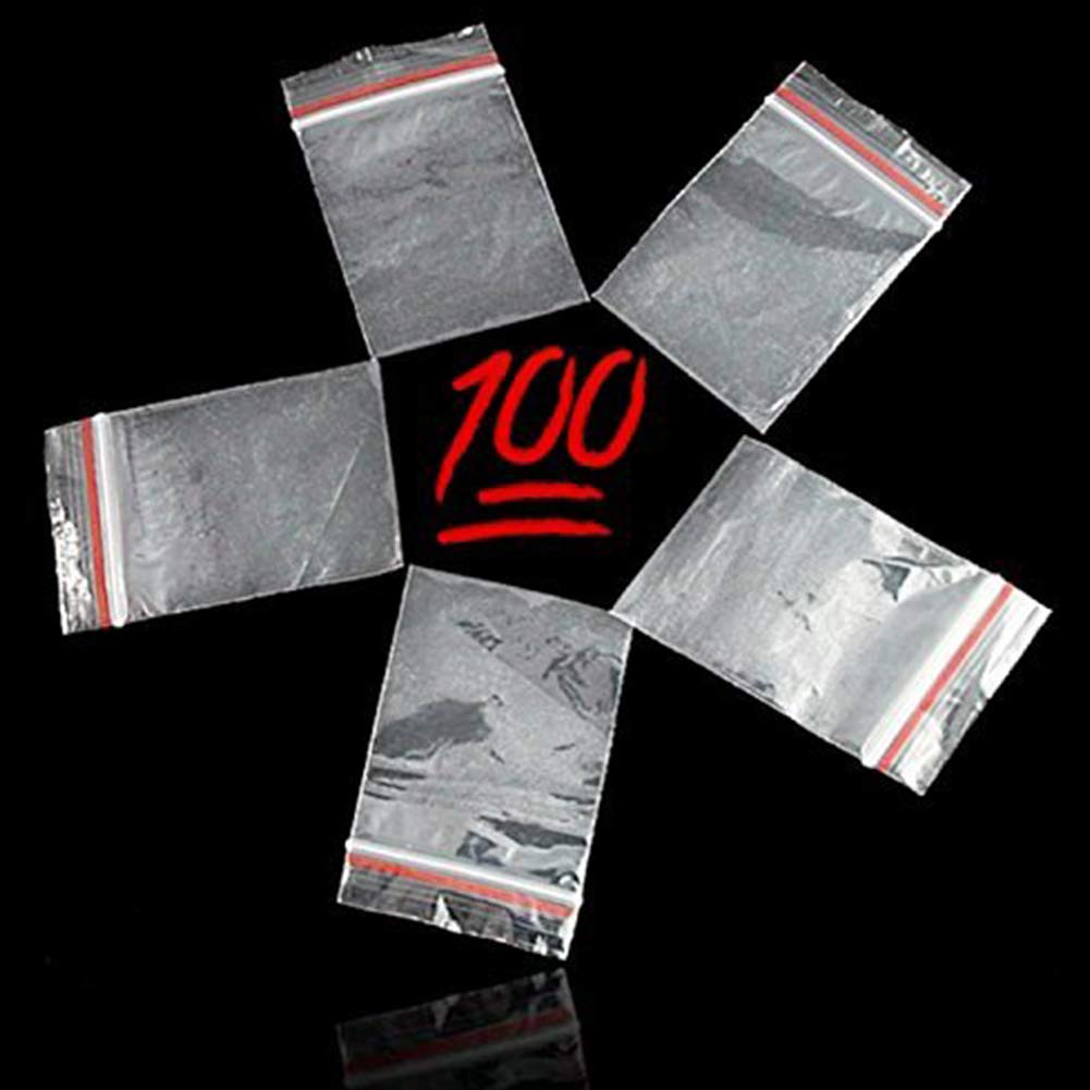 YaptheS 100 PCS Small Clear Zipper Bags Reclosable Ziplock Storage Plastic Bags for Jewelry Gift Card Candy 5X7 cm Office Supplies