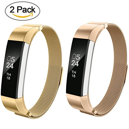 Fitbit Alta Bands For Women Men Kids Girls,AIUNIT Milanese Loop Fitibt Alta Replacement Strap Bands Small/Large for Fitbit Alta HR And Fitibt Alta - 2pack Rose Gold+Gold (No - Ala Kids
