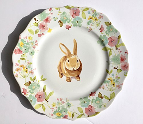 222 Fifth Sydney Easter Bunny Round Dinner Plates with Sculpted Edges - 10-3/4