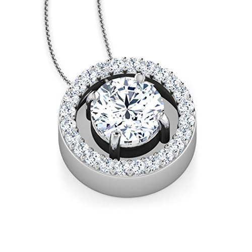 Or blanc 18K 0,86CT TW Round-cut-diamond (IJ | SI) Pendentif