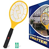 Bug zapper- Electric Fly Swatter,Handheld Insect Fly Killer, Mosquito Zapper against Flies,Bugs,Bees and Other Pest,Unique 3-Layer Safety Mesh Safe to Touch for Indoor and Outdoor Pest Control(2 DURACELL AA Batteries Included)