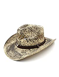Cowboy Hat, Women Men Straw Western Cowboy Hat Handmade Weave Lady Dad Sombrero Hombre Cowgirl Jazz jdon-hats, (Color : Natural, Size : 58cm)