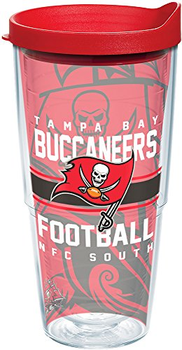 Tervis 1181963 NFL Tampa Bay Buccaneers Gridiron Tumbler with Wrap and Red Lid 24oz, Clear