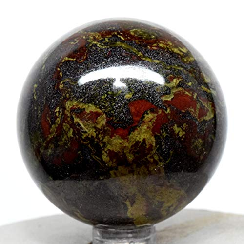(52mm Green Red Dragon Blood Stone Sphere Natural Blood Jasper Mineral Polished Ball Heliotrope Crystal Gemstone - South Africa + Stand)