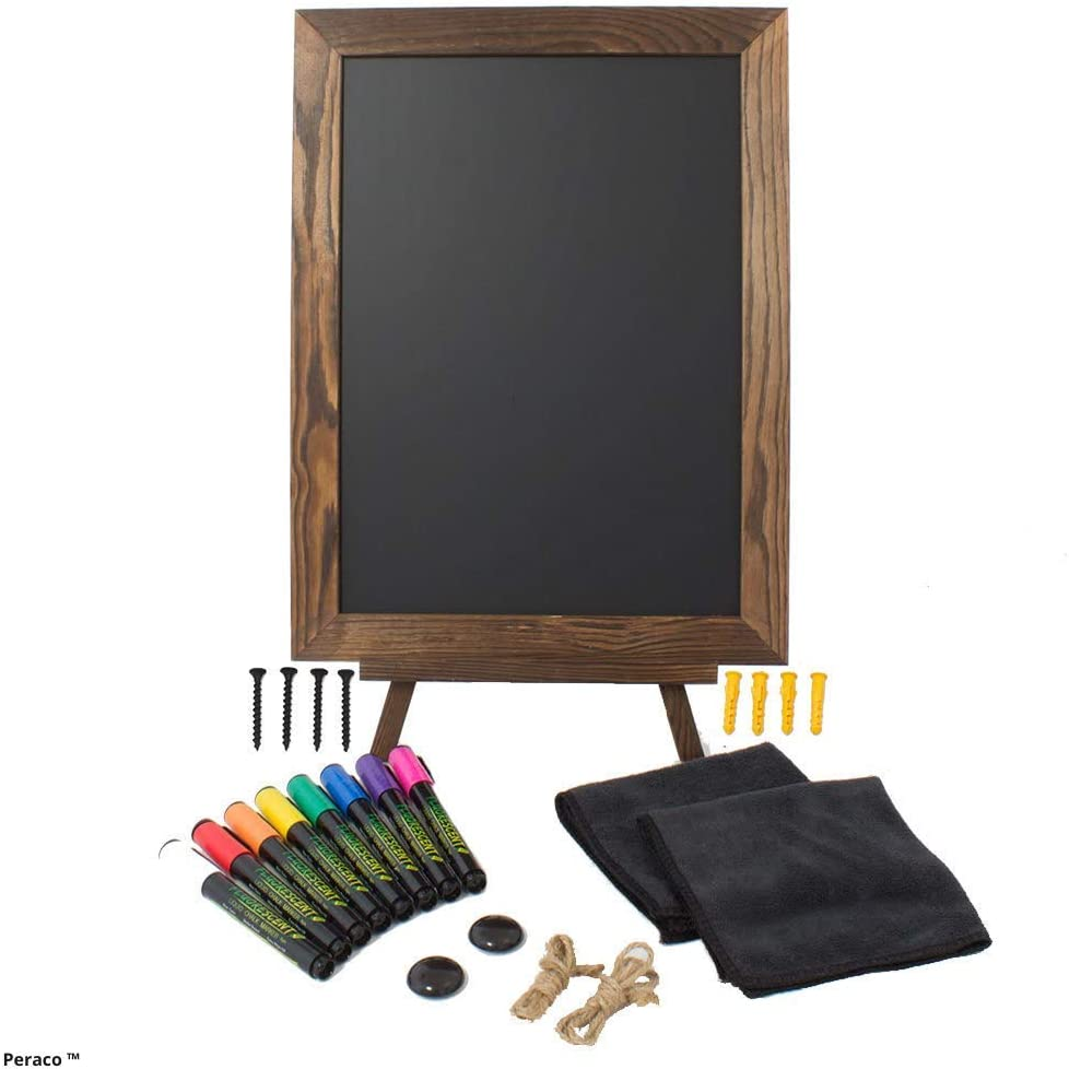 "Peraco's Chalkboard Sign with Easel Stand Pack - 16""x12"" Wooden Frame Includes 8 Liquid Chalk Markers and Multiple Accessories - Perfect Rustic Decor"