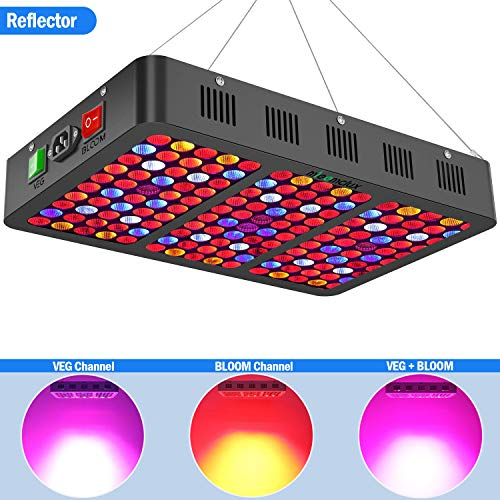 Mieemclux 1500W LED Grow Light with Reflector, Triple-Chips (15W LED) Full Spectrum LED Plant Growing Lamp with Bloom and Veg Switch for All Indoor Plants (Daisy Chained Available)