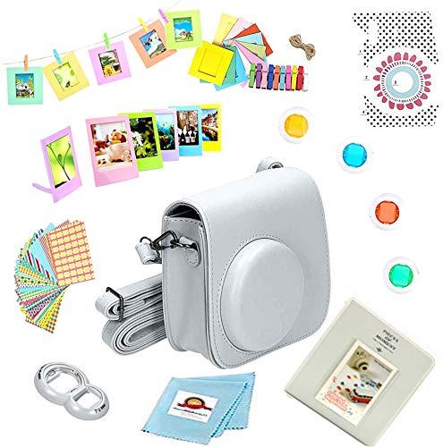 44-Piece Accessory Bundle, Compatible for Fujifilm Instax Mini 9, Mini 8, Mini 8+, Instant Film Camera, Includes; Case, Lens Filters, Photo Album, Plastic Frames + Close-Up, More (Gray - White) from Photo High Quality